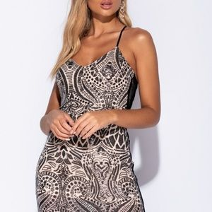 Abstract Sequin Thigh Split Maxi Dress
